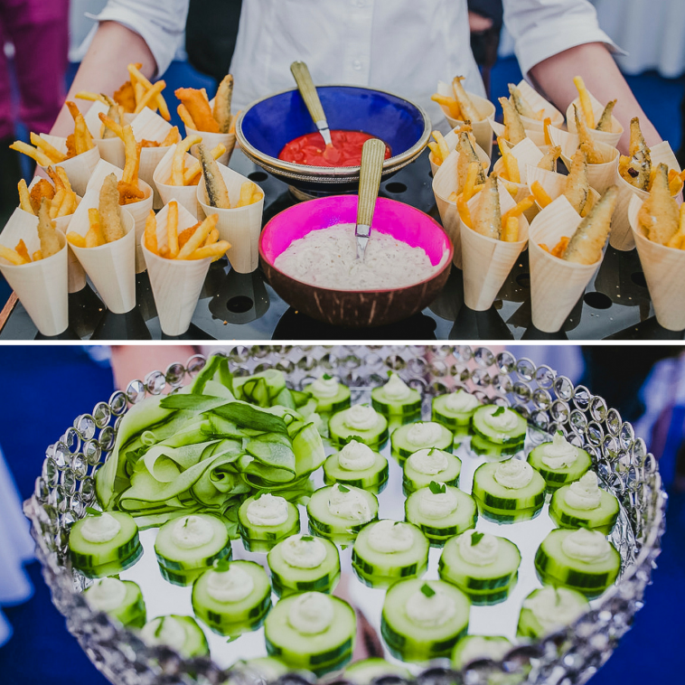 Wedding canapés from Rachel Wells Food: Fish and Chips with Tomato Ketchup & Homemade Tartare Sauce, Smoked Salmon Mousse on cucumber boats